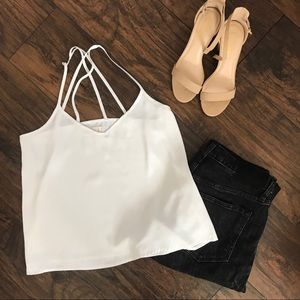 Hollister white flowy strappy tank top